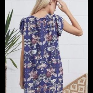 Jaase Floral Tunic Mini Dress with grommets